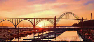 Painting of Yaquina Bay Bridge at Sunset