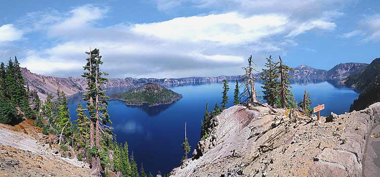 Crater Lake National Park panorama with wizard island; Oregon scenic picture