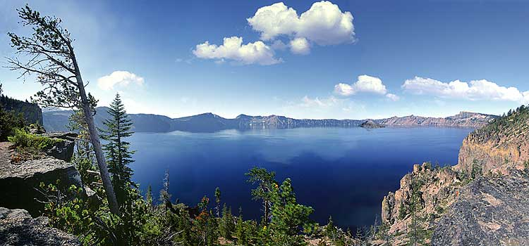 Crater Lake caldera panorama, an Oregon National Park, is a Mount Mazama photo including  Wizard Island sold as photo or canvas