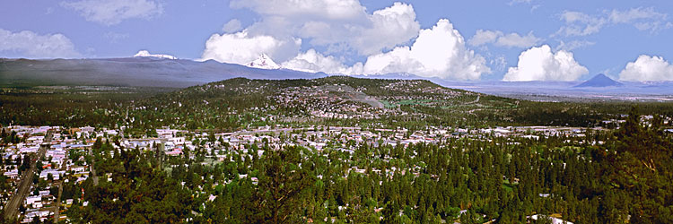 Bend Oregon panorama; City of Bend photography; Black Butte is in the distance of this Central Oregon scenic picture