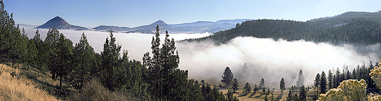 Black Butte panorama; Ochoco Forest picture of Valley fog