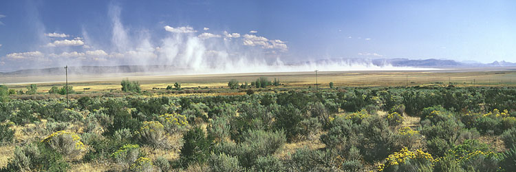 Oregon's Basin Range; Dust Storm on the Alvord Desert