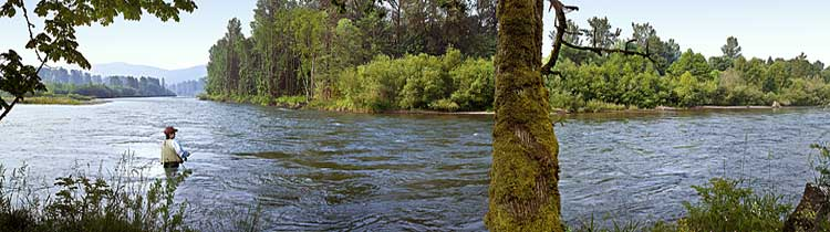 Fisherwoman fishing in wading boots on the Mckenzie River at Bellinger Landing Oregon