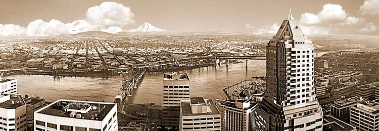 Portland Oregon Bridges Panorama with Mt Hood; Willamette River picture sold as framed photo or canvas