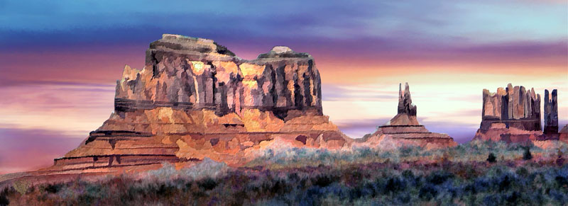 Monument Valley Arizona; Sunset painting on Canvas