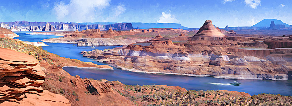 Glen Canyon Recreation Area in Arizona; panorama painting of Lake Powell