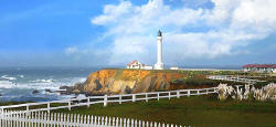 Panorama Painting - Point Arena Lighthouse - Mendocino California