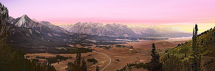 Sawtooth Mountain Scenic; Boise Idaho panorama; Sawtooth Valley from Galena Overlook during beautiful sunset
