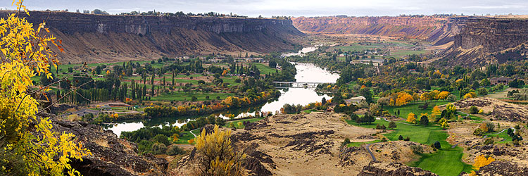 Snake River Gorge with Fall Color panorama; picture from Perrine Bridge in Twin Falls Idaho; Magic Valley in autumn sold as framed photo or canvas