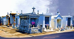 Louisiana panorama - St Louis Cemetery painting - New Orleans