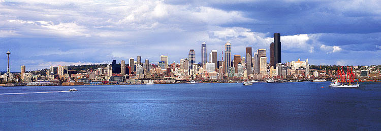 Seattle Skyline Panorama from Alki Park in West Seattle; Elliott Bay picture sold as framed photo or canvas