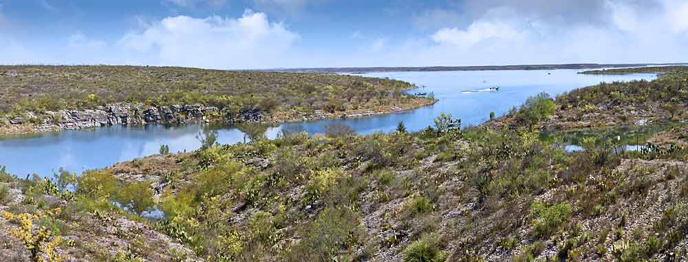 Texas Panorama near Big Bend; Amistad Reservoir of the Rio Grande River near Del Rio sold as framed photo or canvas