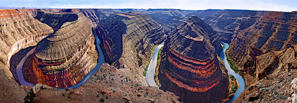 Goosenecks of the San Juan River Panorama - Digital Art of Arizona