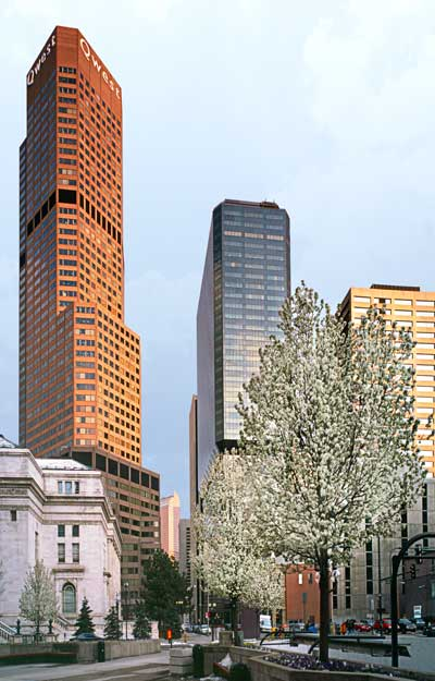 Vertical panorama of Skyscrapers in Denver Cityscape