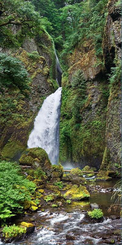 Vertical Panorama  of Wahclella Falls in Columbia Gorge, Oregon
